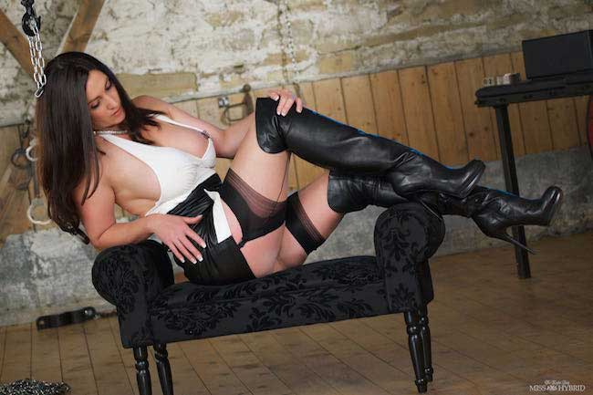 Miss Hybrid stocking tops and leather boots.