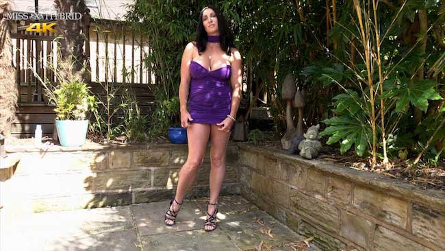 Miss Hybrid short skirt wet pussy and glass dildo.