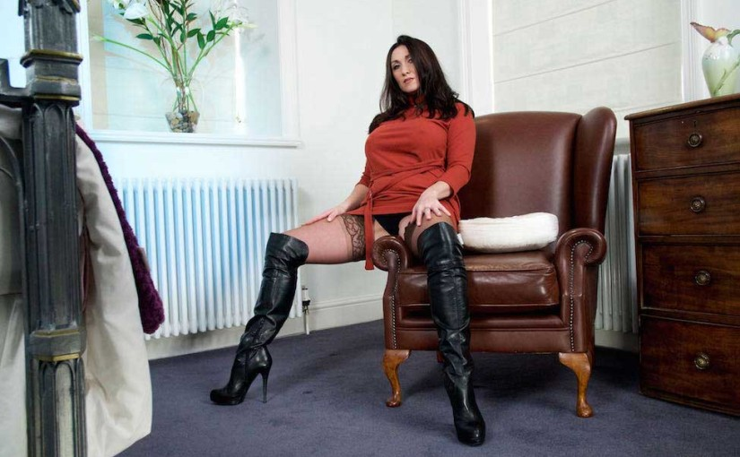 Miss Hybrid Leather Boots And Stockings