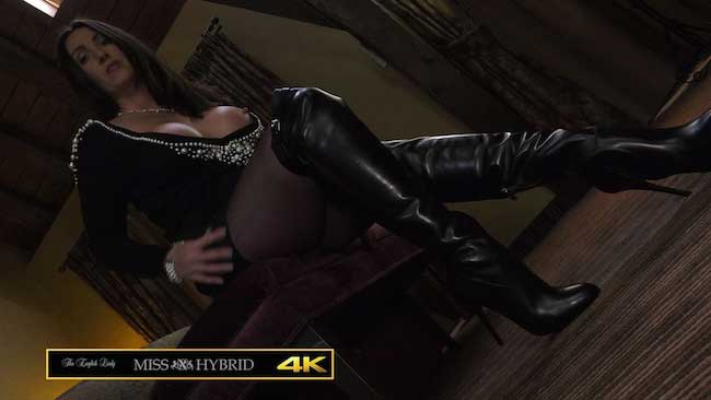 Leather Ralph Lauren Thigh boots and nylon pantyhose Miss Hybrid giantess.
