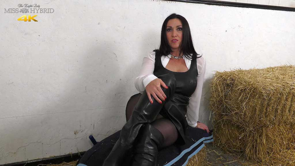 Leather dress magic wand and pantyhose Miss Hybrid in the stables.