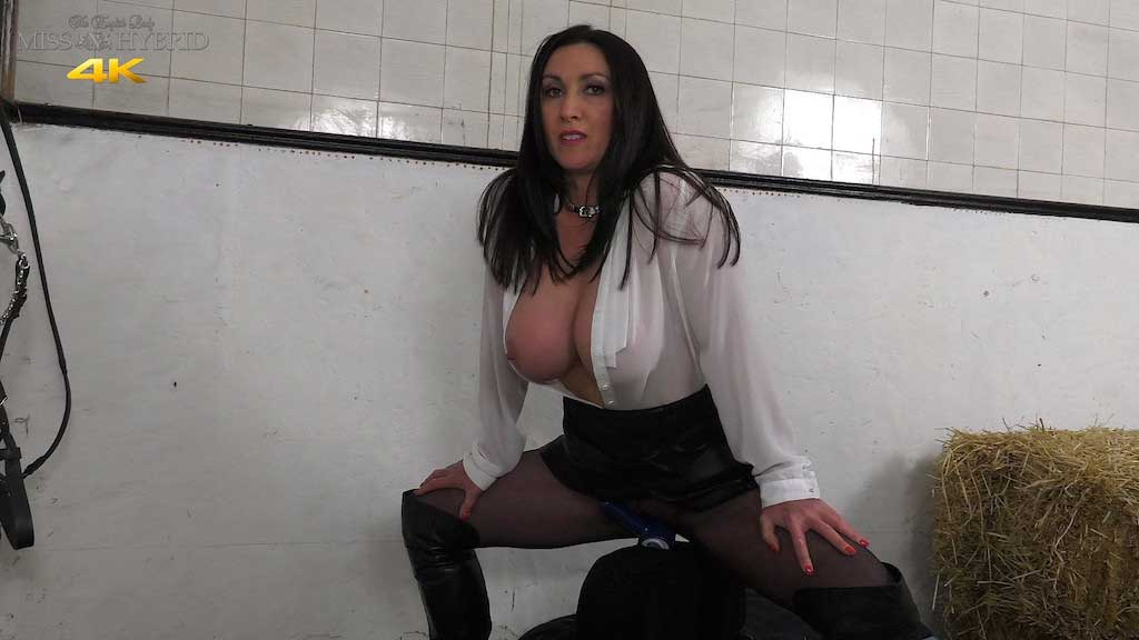 Leather dress Magic Wand and ripped pantyhose, Miss Hybrid thigh boots in the stables.