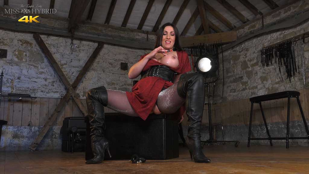 Big tits leather boots hand job, Miss Hybrid sex toys and glazed tits.
