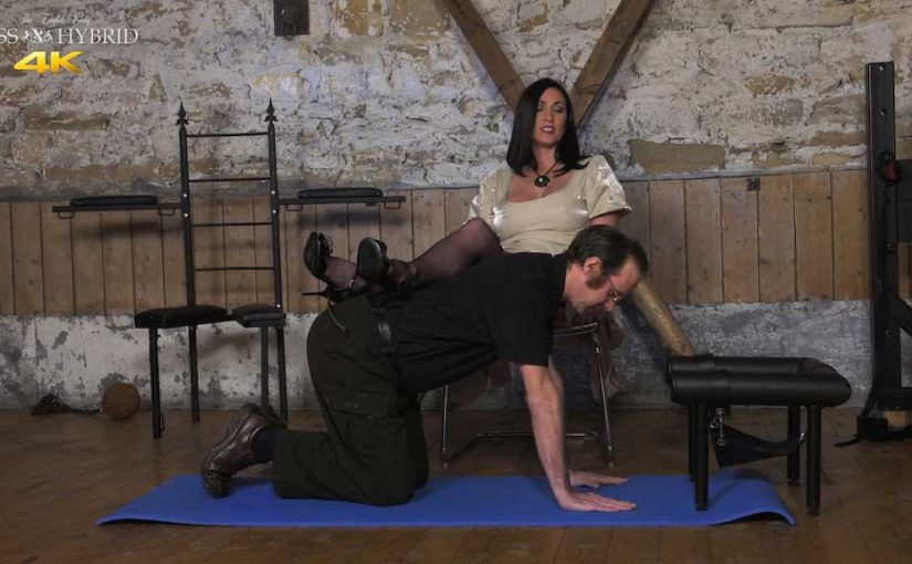 Miss Hybrid stockings and heels puts her feet up on the new groom and treats him to a nylon foot wank.