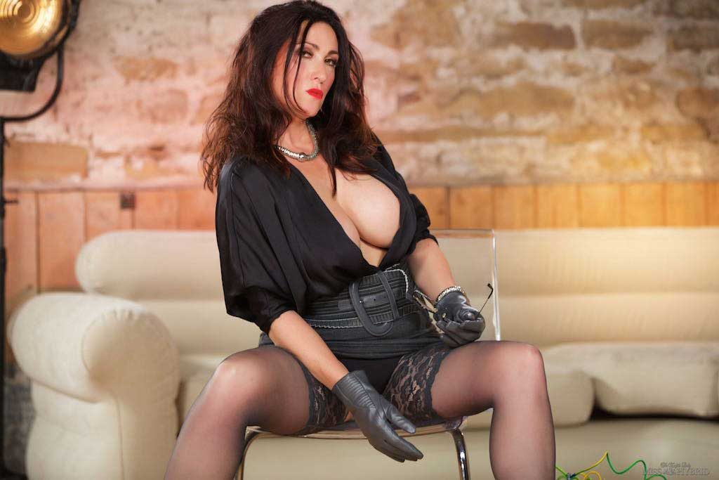 Nipple clamps stockings and stiletto heels, Miss Hybrid.