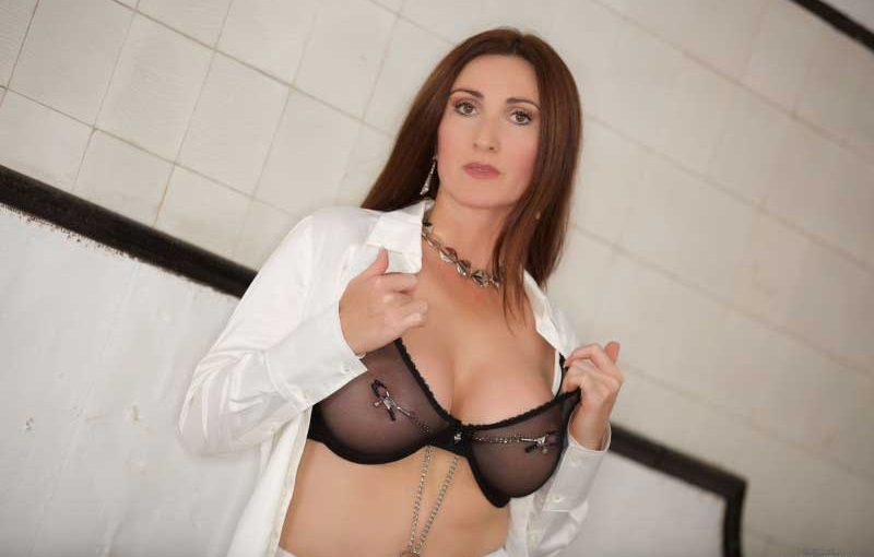 Miss Hybrid sexy lingerie, stockings and stilettos.