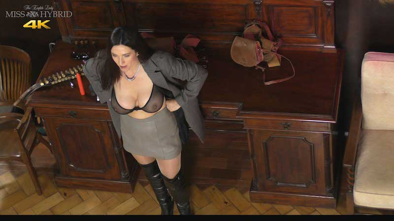Miss Hybrid sheer bra big tits leather boots and nylons.