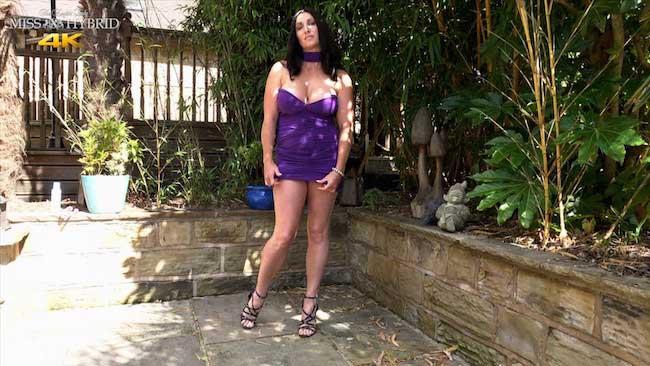 Miss Hybrid Short Skirt, Tits Out, Glass Dildo